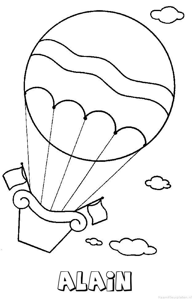 Alain luchtballon kleurplaat