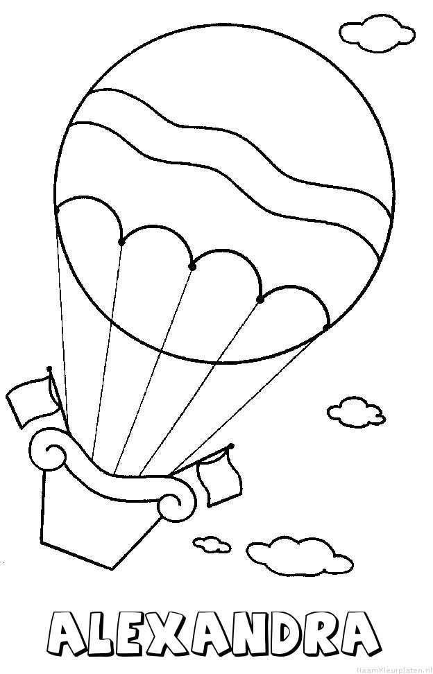 Alexandra luchtballon kleurplaat
