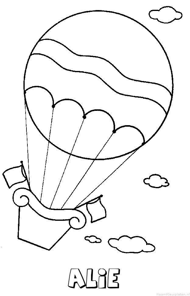 Alie luchtballon kleurplaat