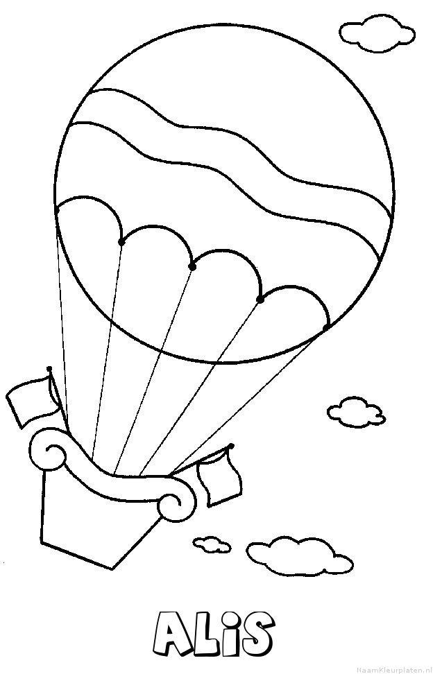 Alis luchtballon kleurplaat