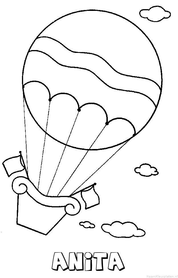 Anita luchtballon kleurplaat