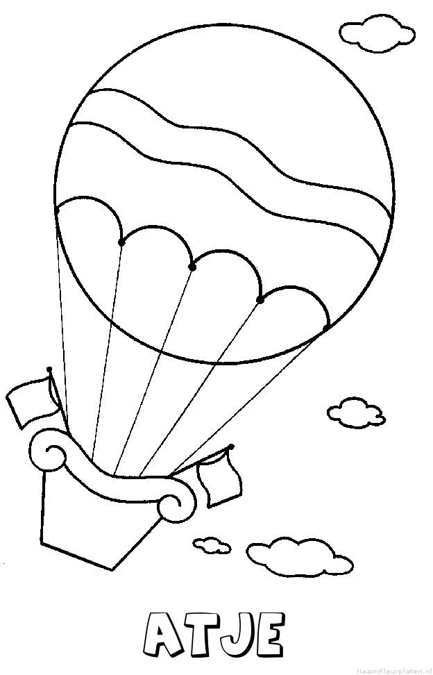 Atje luchtballon kleurplaat