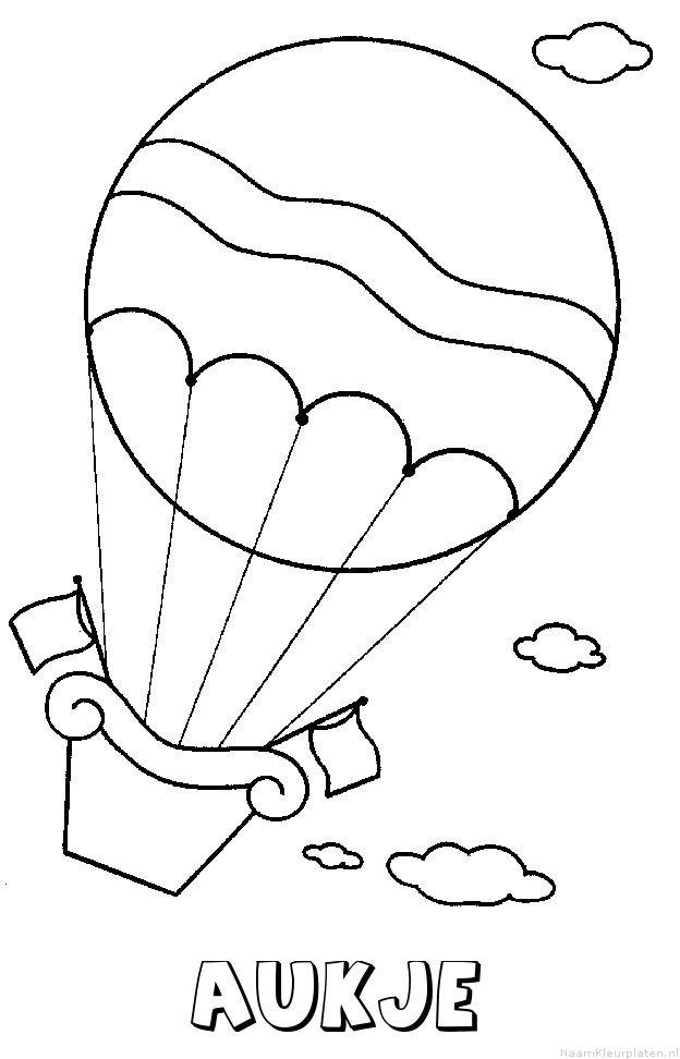 Aukje luchtballon kleurplaat