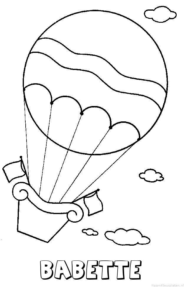 Babette luchtballon kleurplaat