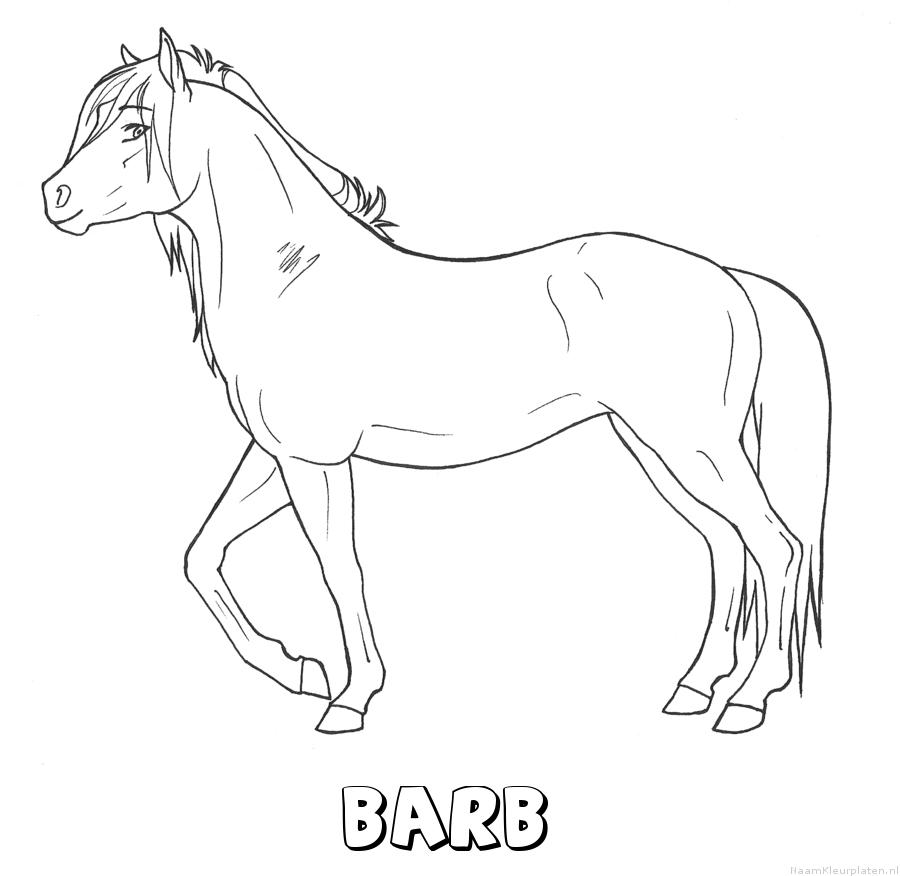 Barb paard kleurplaat