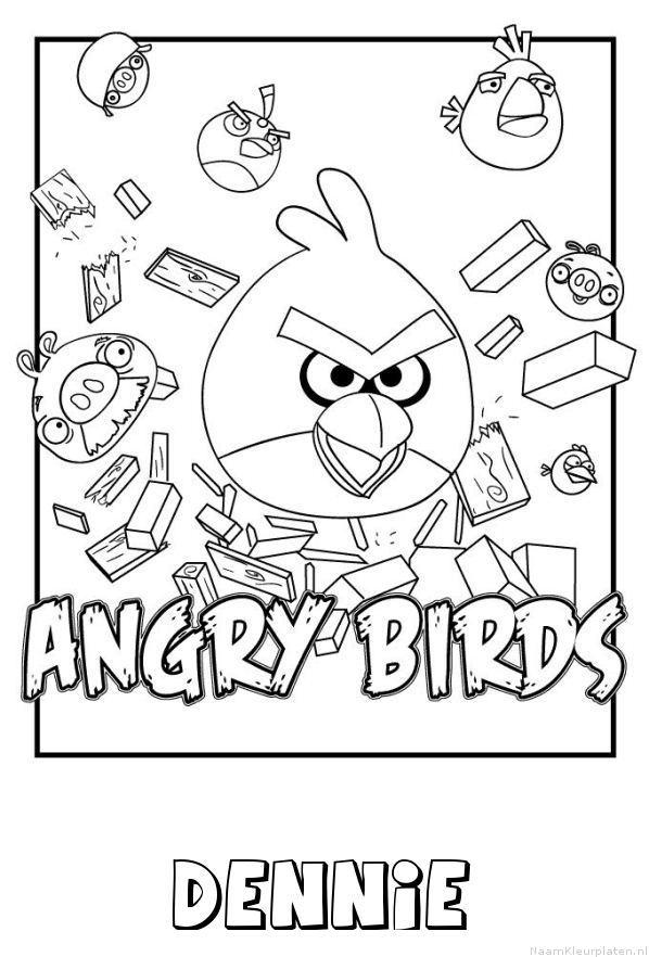 Dennie angry birds kleurplaat