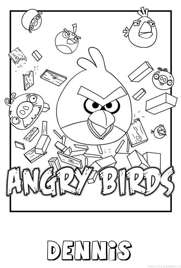 Dennis angry birds kleurplaat