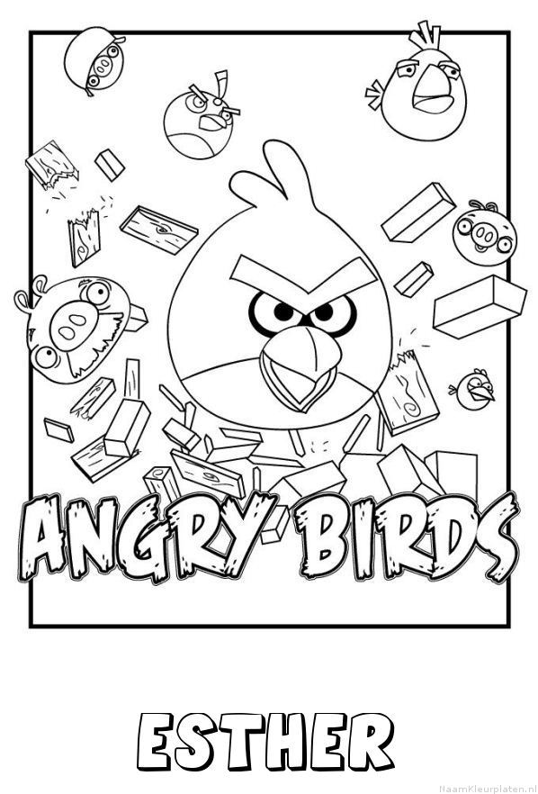 Esther angry birds kleurplaat