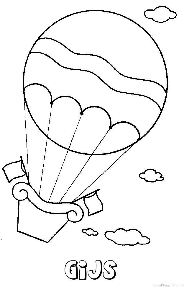 Gijs luchtballon kleurplaat