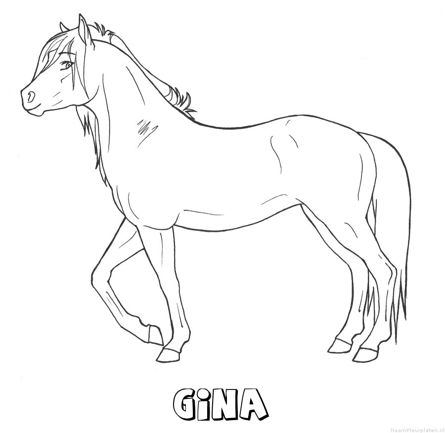 Gina paard kleurplaat