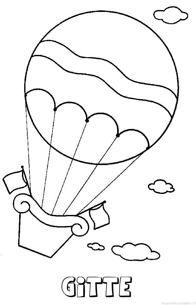 Gitte luchtballon kleurplaat