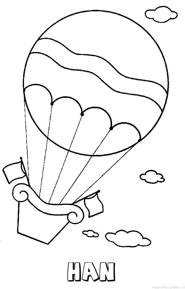 Han luchtballon kleurplaat
