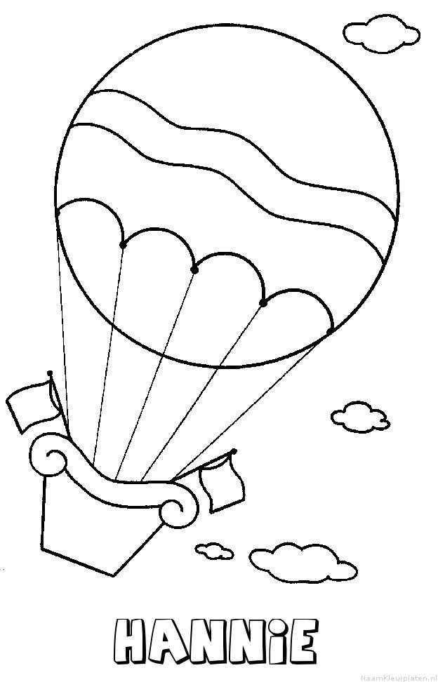 Hannie luchtballon kleurplaat