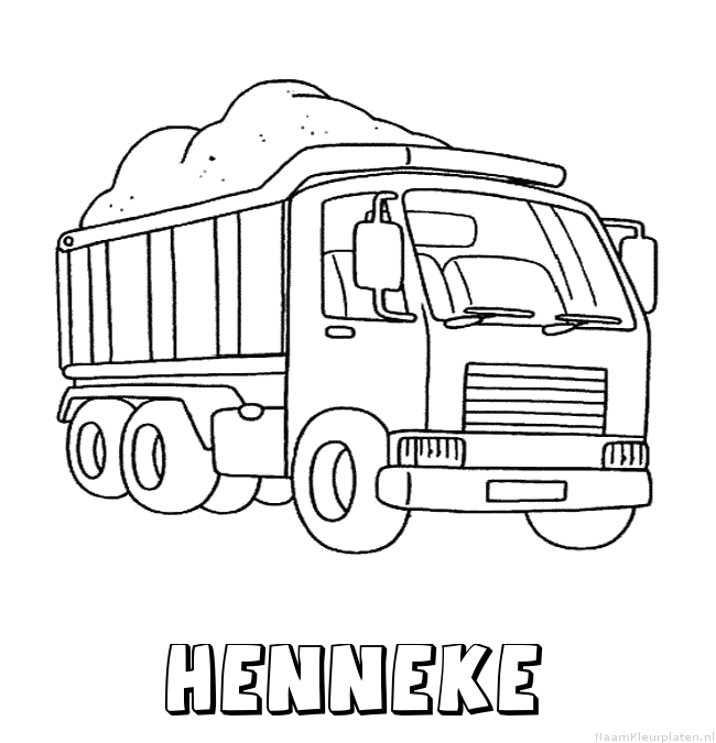 Henneke vrachtwagen kleurplaat