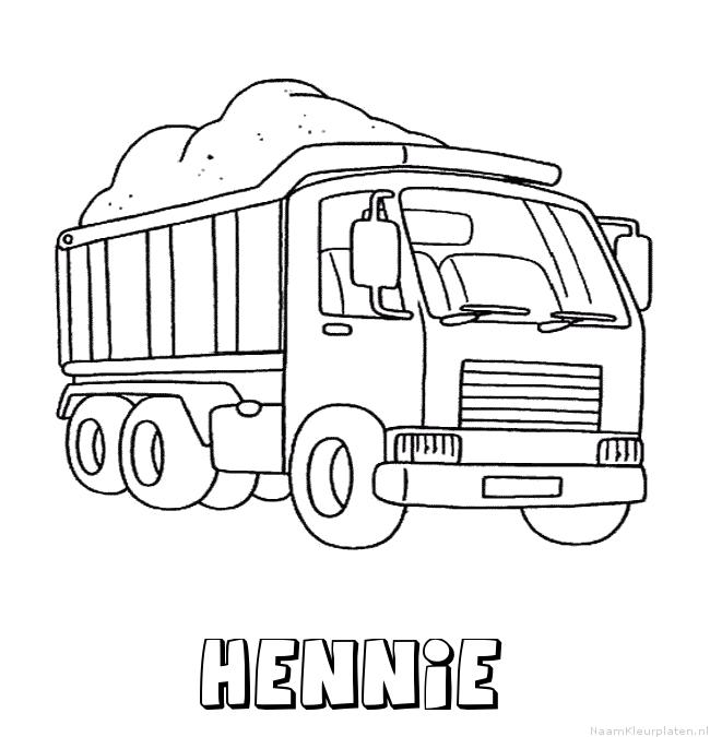 Hennie vrachtwagen kleurplaat