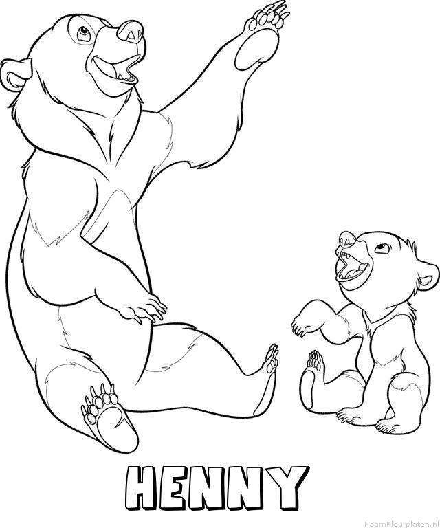 Henny brother bear kleurplaat
