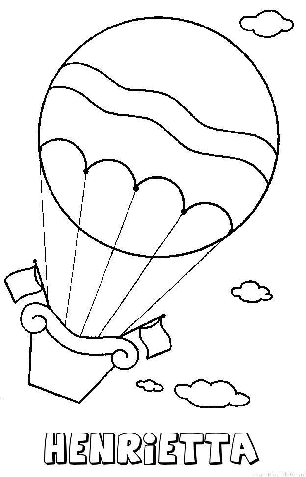 Henrietta luchtballon kleurplaat