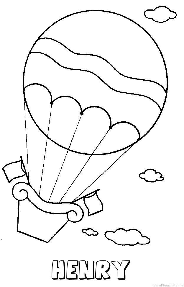 Henry luchtballon kleurplaat