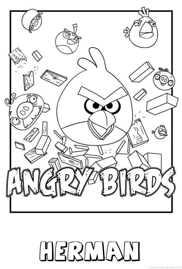 Herman angry birds kleurplaat