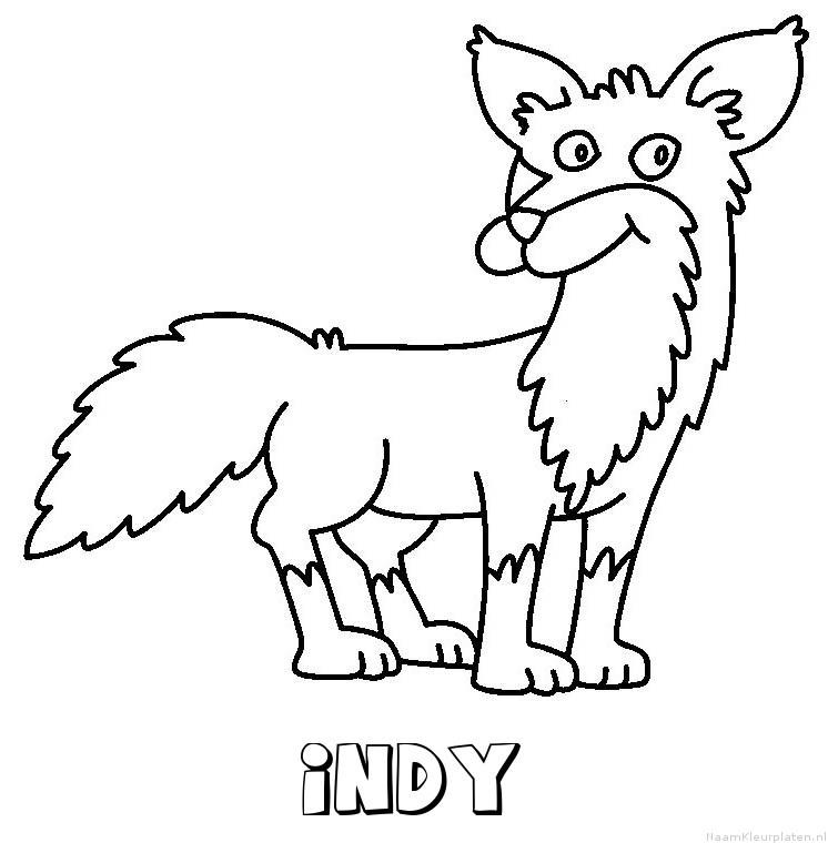 Indy vos kleurplaat
