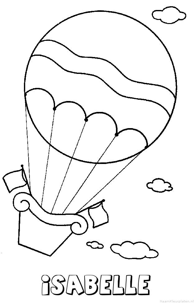 Isabelle luchtballon kleurplaat