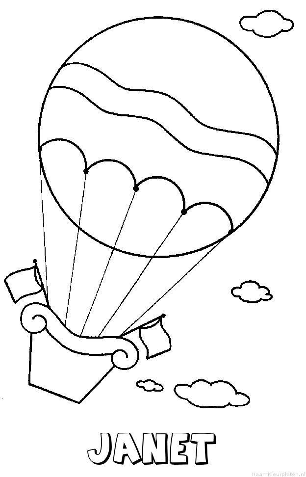Janet luchtballon kleurplaat