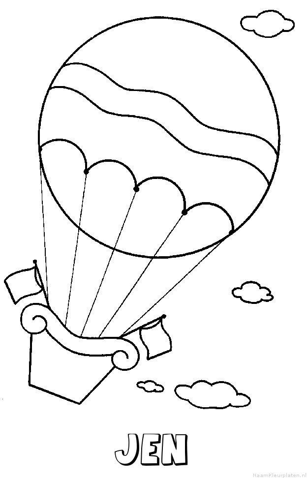 Jen luchtballon kleurplaat