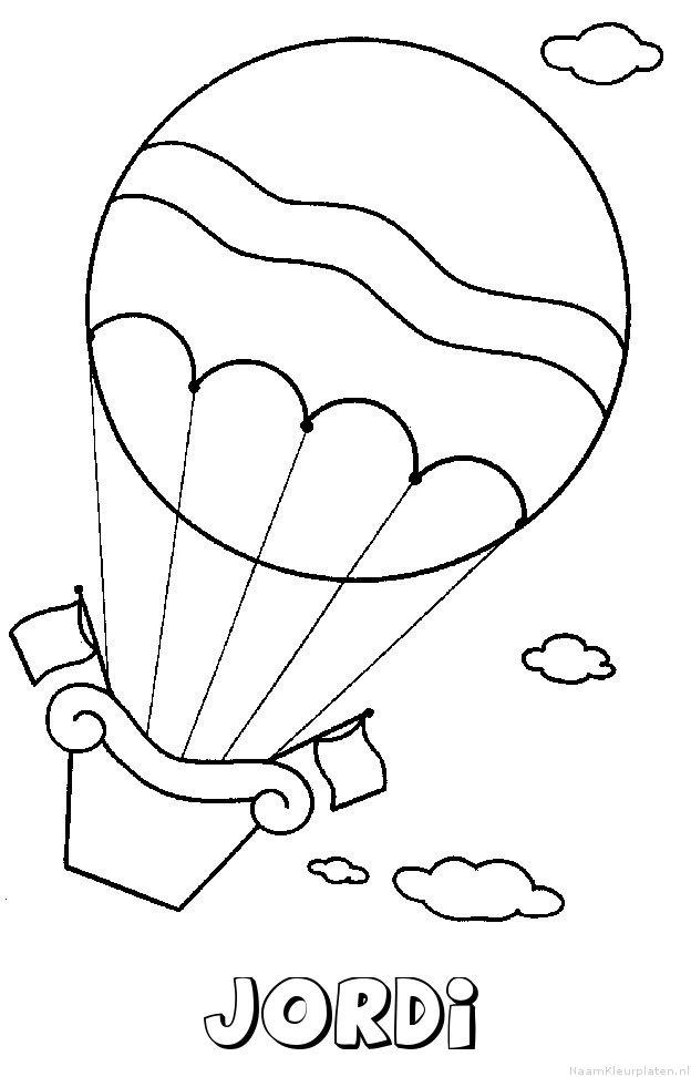 Jordi luchtballon kleurplaat