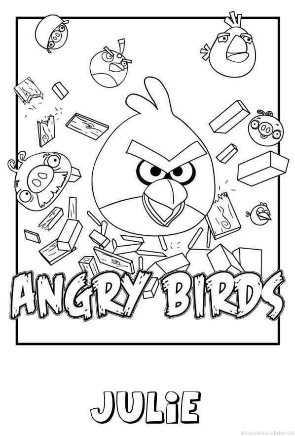 Julie angry birds kleurplaat