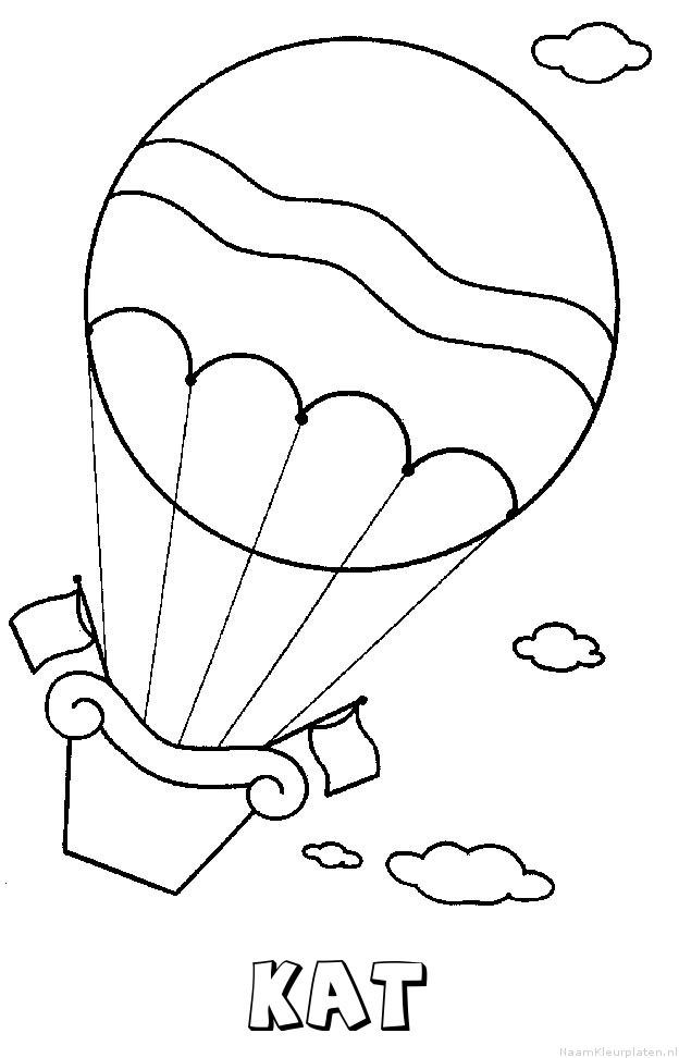 Kat luchtballon kleurplaat