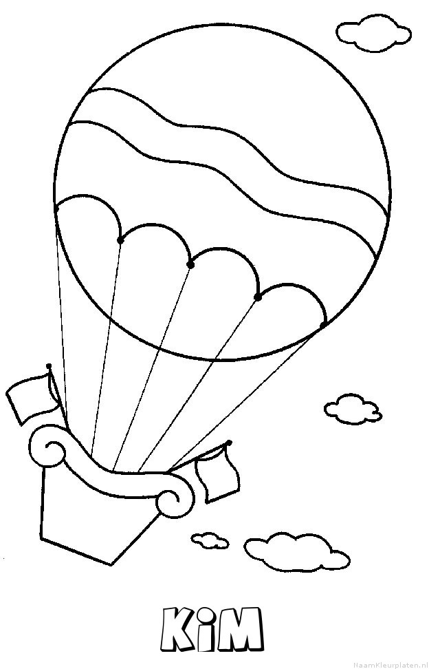Kim luchtballon kleurplaat