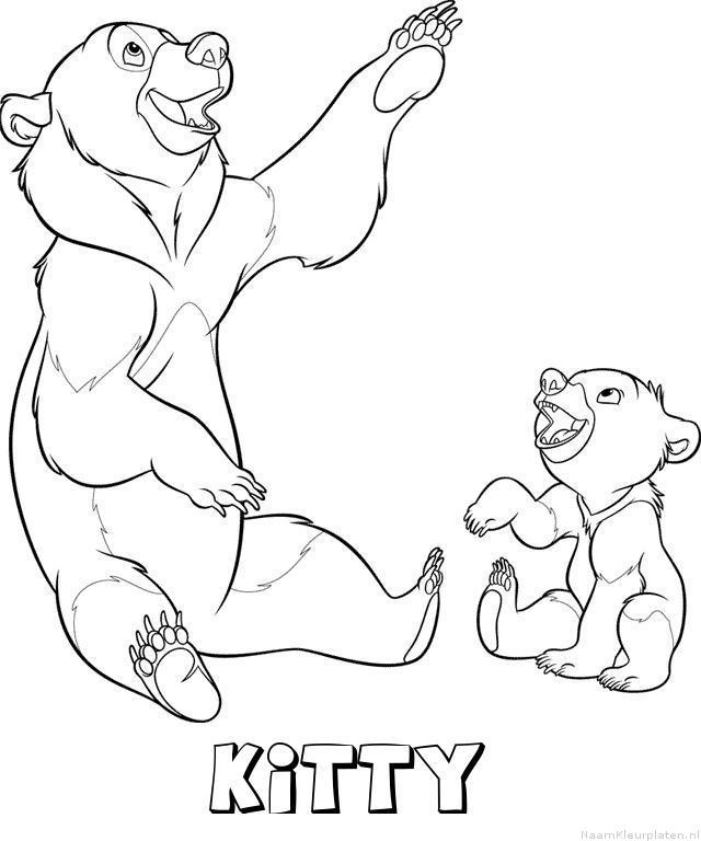 Kitty brother bear kleurplaat