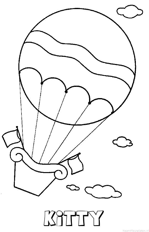Kitty luchtballon kleurplaat