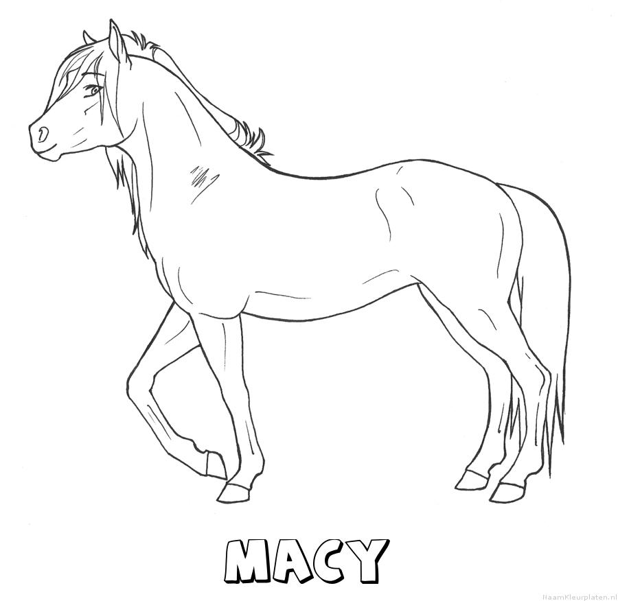 Macy paard kleurplaat