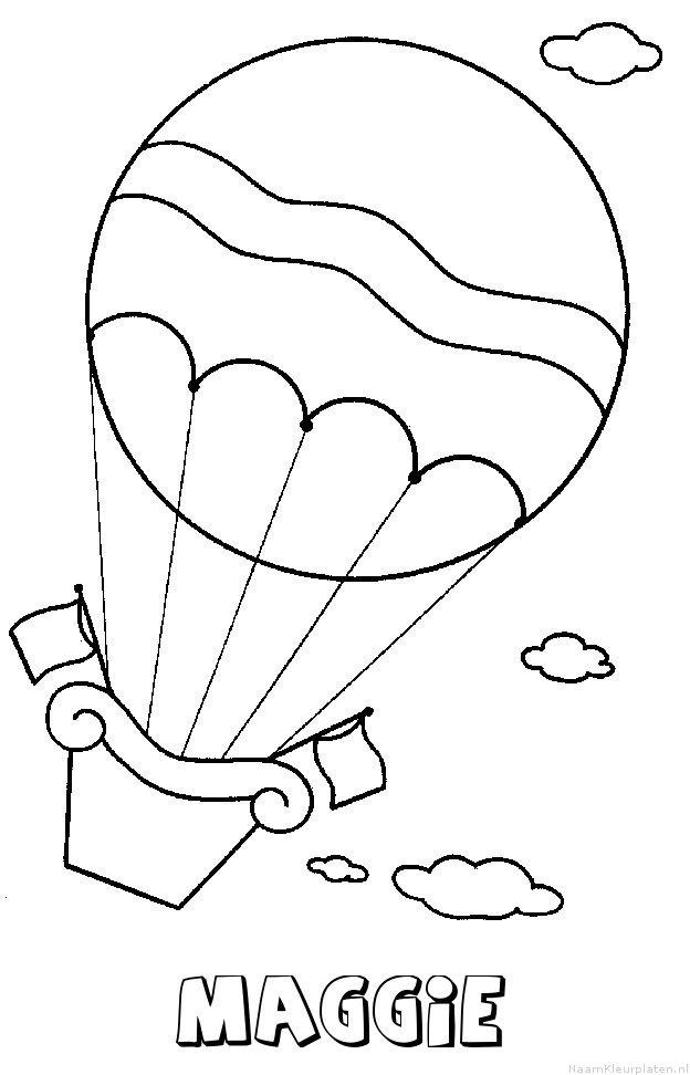 Maggie luchtballon kleurplaat
