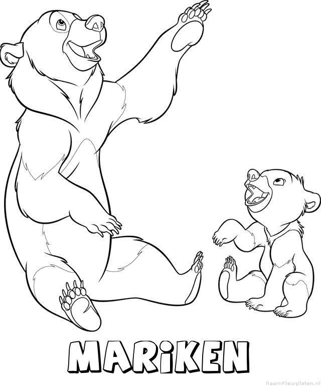 Mariken brother bear kleurplaat