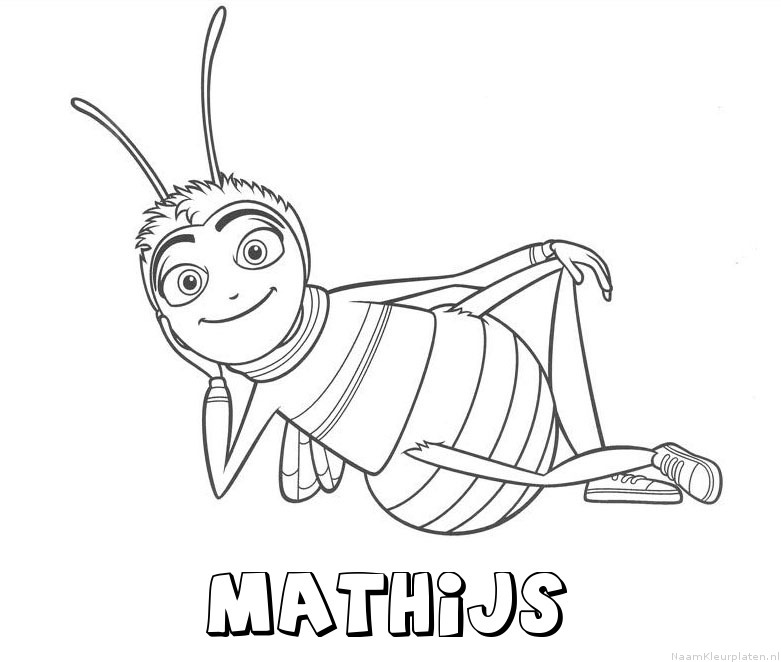 Mathijs bee movie kleurplaat