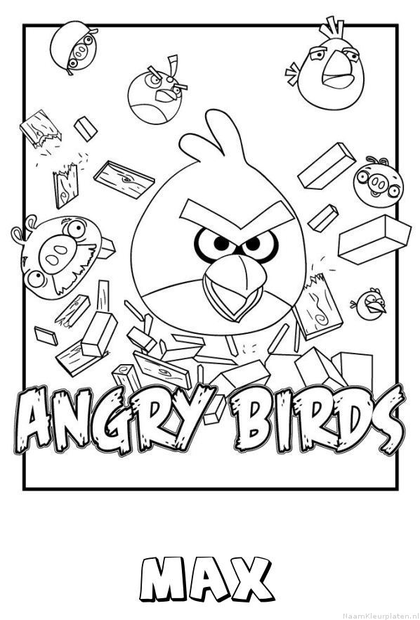 Max angry birds kleurplaat