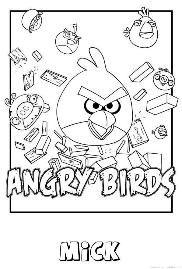 Mick angry birds kleurplaat