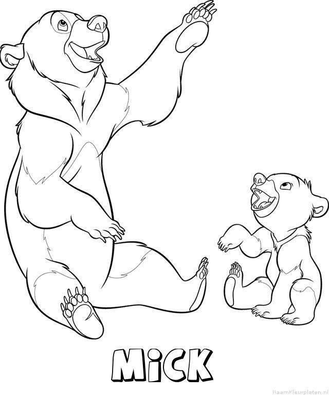 Mick brother bear kleurplaat