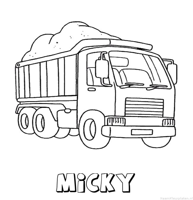 Micky vrachtwagen kleurplaat