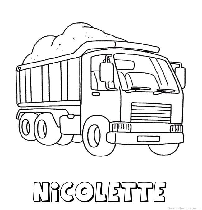 Nicolette vrachtwagen kleurplaat