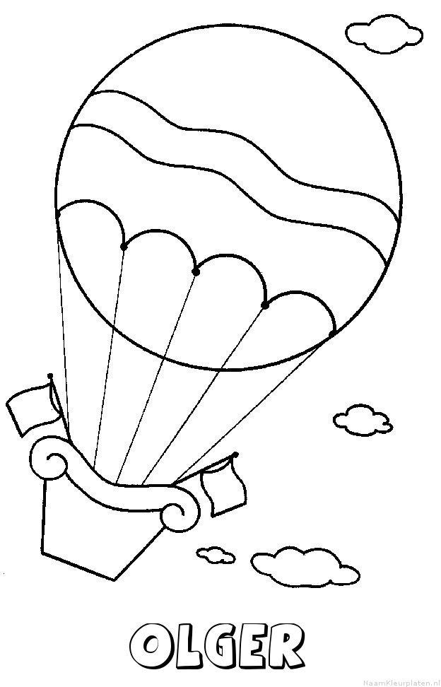 Olger luchtballon kleurplaat