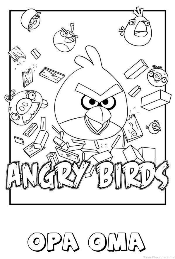 Opa oma angry birds kleurplaat