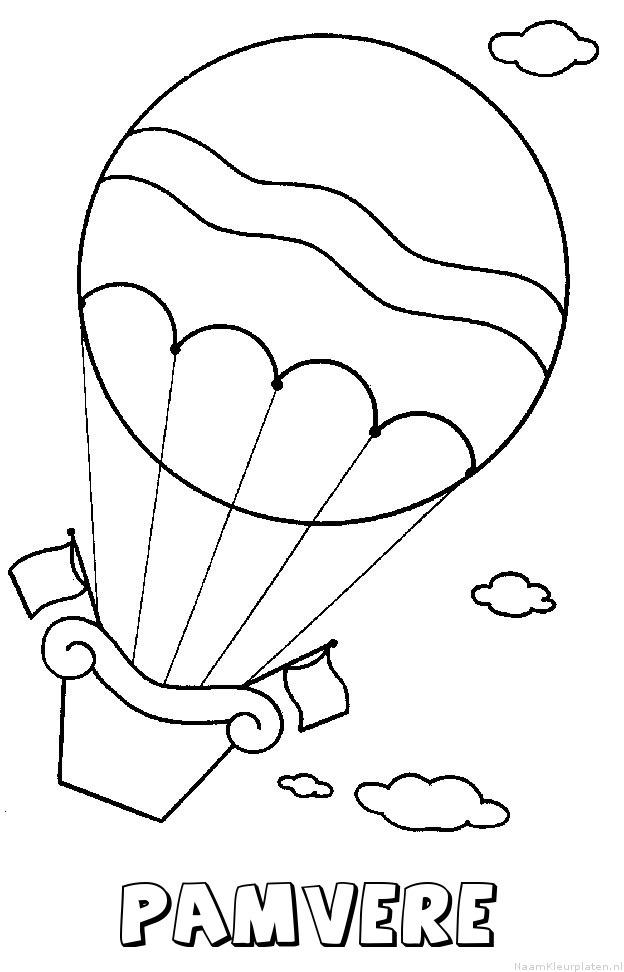 Pamvere luchtballon kleurplaat