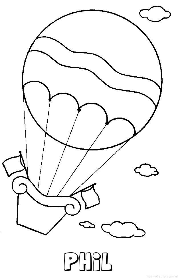 Phil luchtballon kleurplaat