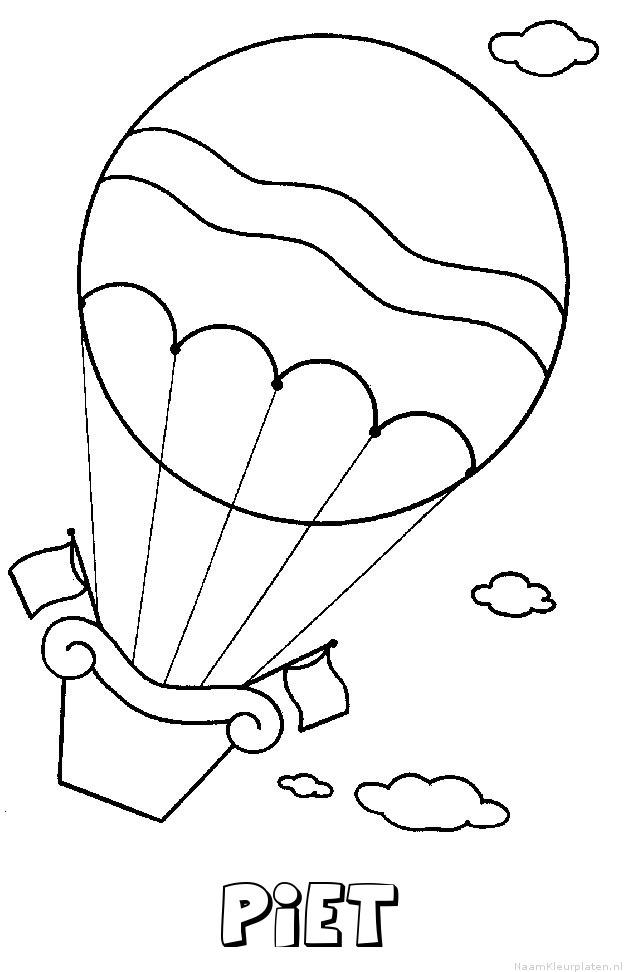 Piet luchtballon kleurplaat