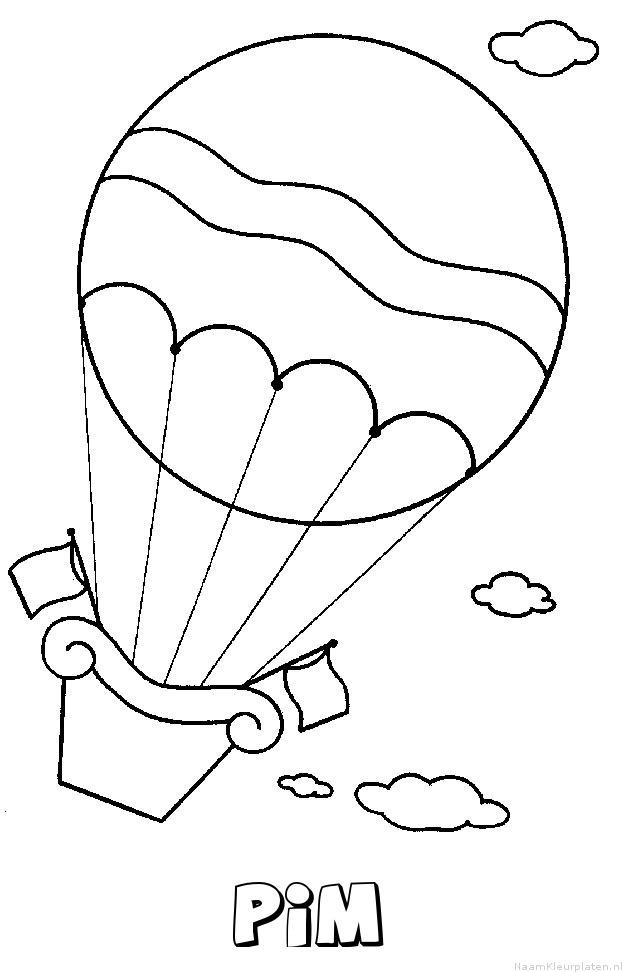 Pim luchtballon kleurplaat