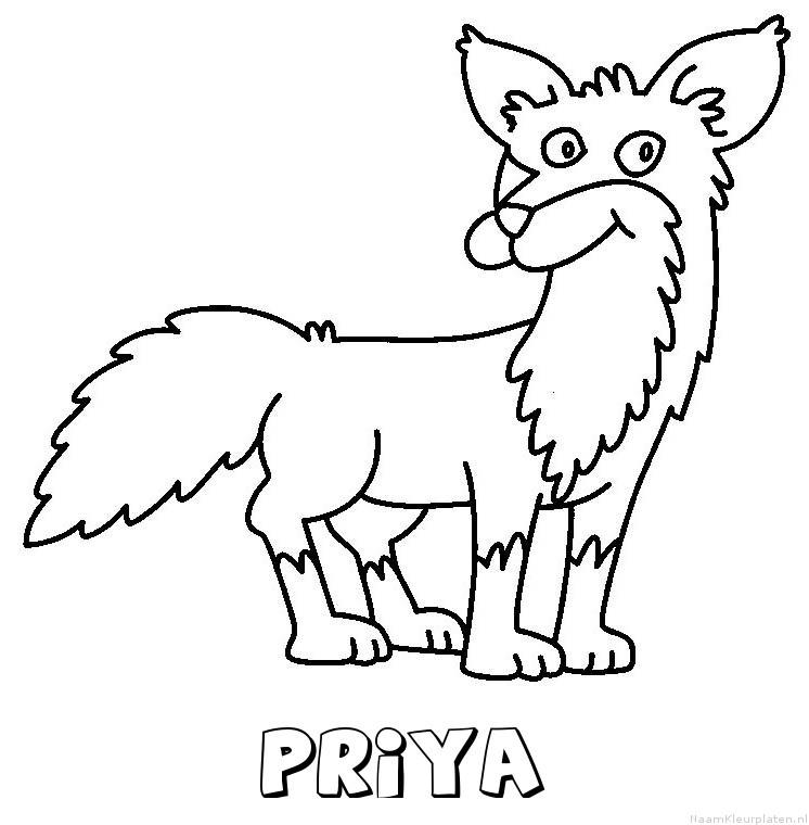Priya vos kleurplaat