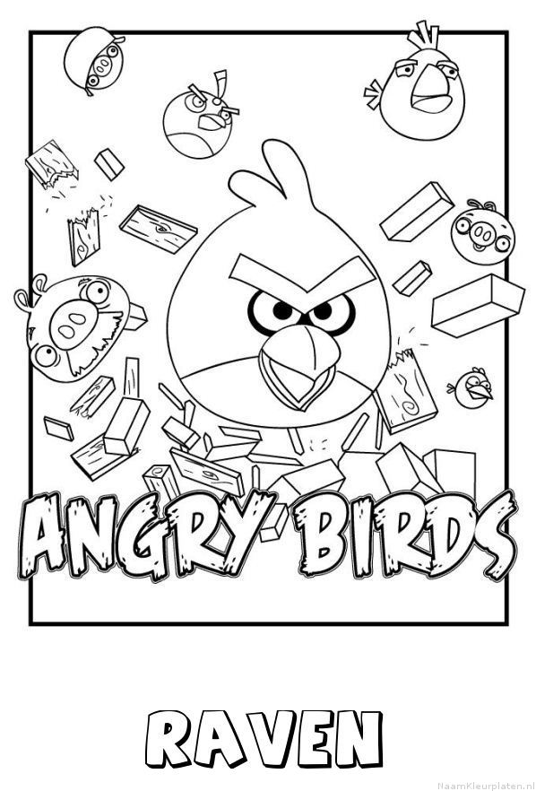 Raven angry birds kleurplaat